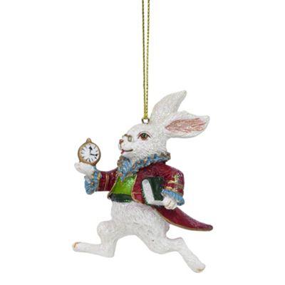 Alice in Wonderland White Rabbit Christmas Tree Bauble Decoration