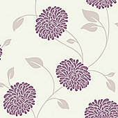 Fresco Bronte Floral Cranberry Wallpaper
