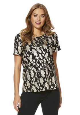 Vero Moda Floral Foil Shell Top XS Black