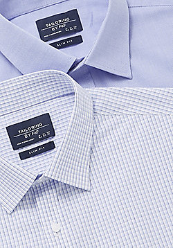 F&F 2 Pack of Easy Care Slim Fit Long Sleeve Shirts - Blue