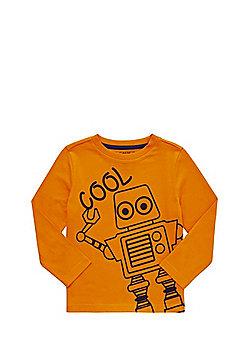 F&F Robot Print Long Sleeve T-Shirt - Orange