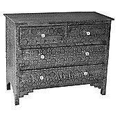 Chaandhi Kar Black and Silver chest of drawers