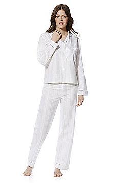 F&F Striped Pyjamas - White & Grey