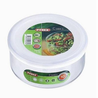 Pyrex Classic 1.1L Round Dish with Plastic Lid