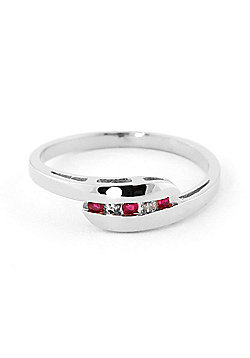 QP Jewellers Ruby & SI-1 Diamond Channel Set Embrace Eternity Ring in 14K White Gold