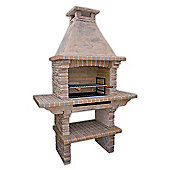 Stone Masonry Barbecue BBQ With Grill and Side Tables