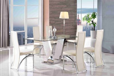 Valentino Designer Glass and Stainless Steel 160 cm Dining Table with 4 Ivory Alisa Chairs