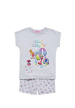 DreamWorks Trolls Hello Weekend Slogan Pyjamas - Marl grey