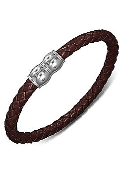 Urban Male Brown Plaited Leather Bracelet 7mm with Magnetic Clasp
