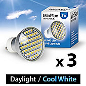 Pack of 3 Minisun GU10 3w 60SMD LED Bulb 6500k Daylight 420Lumens