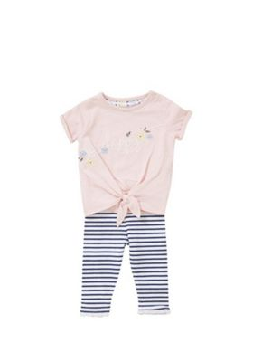 F&F Bee Happy Slogan T-Shirt and Striped Leggings Set Multi 12-18 months