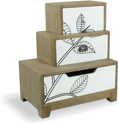 Ultimum Floral Left Staggered Bedside Table with White Print