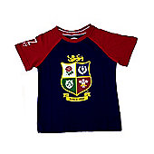 British & Irish Lions Rugby Kids Raglan T-Shirt - Navy & Red