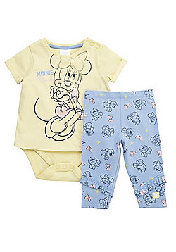 Disney Minnie Mouse Integrated Bodysuit Top and Leggings Set - Yellow & Blue