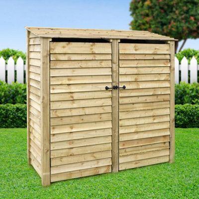 Hambleton wooden log store with doors - 6ft