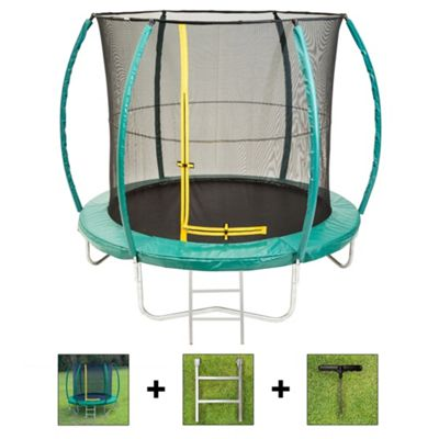 Up and About 10ft Hurricane Green Trampoline Package with Free Ladder and Building Tool