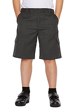 F&F School 2 Pack of Boys Plus Fit Combat Shorts - Grey