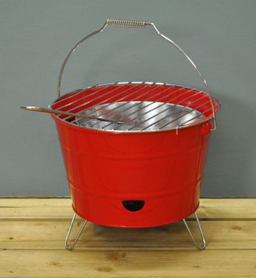 Portable Red Bucket Barbecue