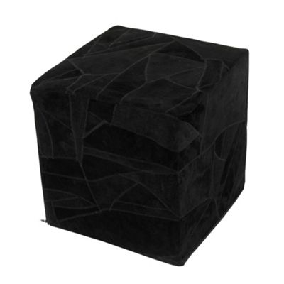 Homescapes Leather Suede Black Cube Pouffe, 36 x 36 x 38 cm