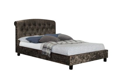 Comfy Living 5ft King Size Luxury Crushed Velvet Bed Frame with Buttoned Headboard in Brown with Sprung Mattress