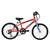 "Ammaco Warrior Boys 20"" Wheel Mountain Bike 6 Speed Orange & Blue"