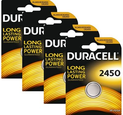4 x Duracell CR2450 3V Lithium Coin Cell Battery 2450 DL2450 K2450L