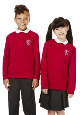 Unisex Embroidered School Sweatshirt with As New Technology 7-8 years Red