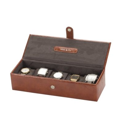 Faux Leather 5 Watch Box - Brown