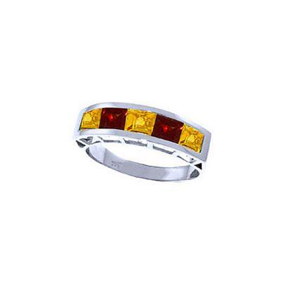 QP Jewellers Garnet & Citrine Prestige Ring in 14K White Gold - Size O 1/2