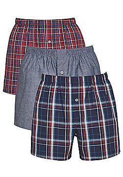 F&F 3 Pack of Checked and Plain Woven Boxer Shorts with As New Technology - Multi