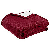 Tesco Christmas Red Knitted Sherpa Back Throw