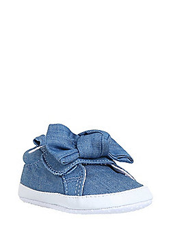 F&F Bow Front Chambray Plimsolls - Blue