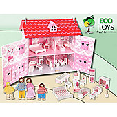 BlueBerry Wooden Dolls House Set + 14 Pieces of Furniture + 4 dolls