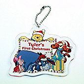 Winnie the Pooh (My First Christmas) Personalised Christmas Tree Decoration Group Lights