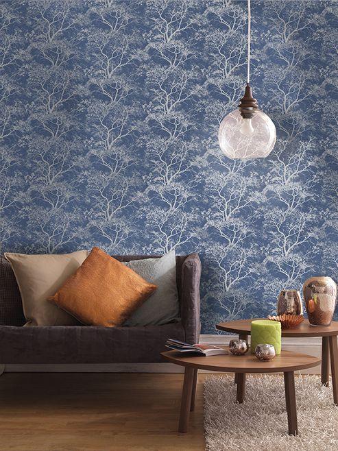 Whispering Trees Glitter Wallpaper Blue Holden Decor 65402
