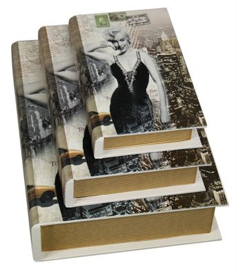 Set of 3 Black and White Marilyn Monroe Book Boxes