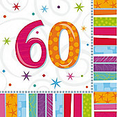 60th Birthday Radiant Luncheon Napkins - 2ply Paper - 16 Pack