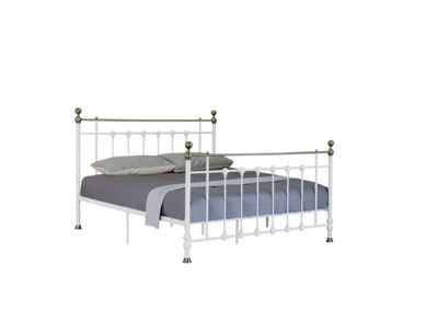 Comfy Living 4ft Small Double Antique Style Metal Bed Frame with Brass Finials in White