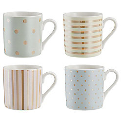 Set of 4 Gold Spot & Stripe Espresso mugs