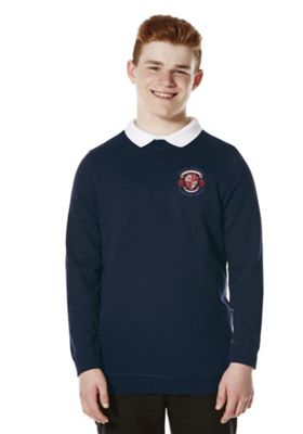 Unisex Embroidered Cotton Blend School Sweatshirt with As New Technology 2-3 years Navy blue