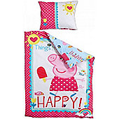 Peppa Pig Single Bedding in 100% Cotton - Happy