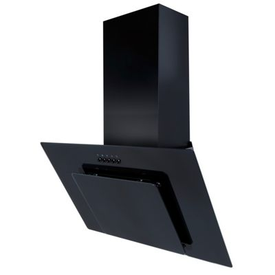 SIA 70cm Black Angled Glass Chimney Cooker Hood Extractor Fan & 3m Ducting