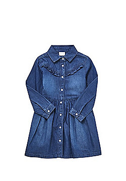 F&F Frill Detail Denim Shirt Dress - Denim