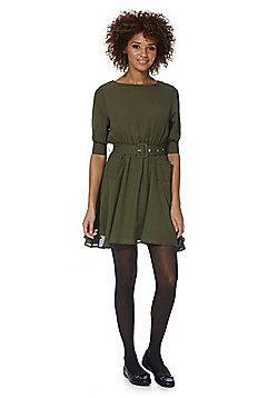 Cutie Belted Utility Dress - Khaki