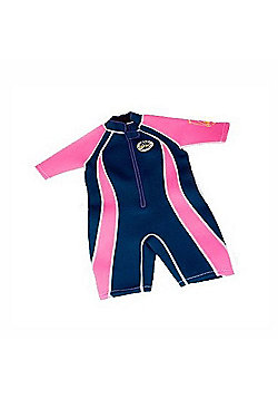 Jakabel Infant Boys Front Zip Shorty Wetsuit Navy/Neon - Pink