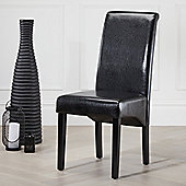 2x Black Chester Leather High Back Scroll Dining Chair