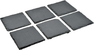 Argon Tableware Square Natural Slate Drinks Coasters - Set Of 6