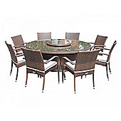 Roma 8 Chairs And Large Round Table And Lazy Susan Set in Chocolate Mix and Coffee Cream