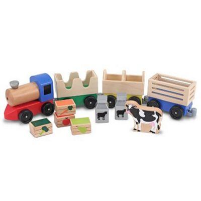Melissa and Doug Wooden Farm Train Toy Set