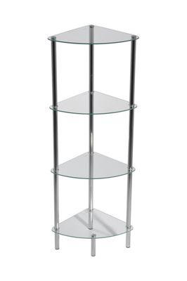 Polo 4-Tier Glass Corner Rack - Clear
